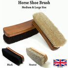 4 Pieces Set 100% HORSEHAIR SHOE BRUSH 2 BLACK & 2 NATURAL WOOD LEATHER DESIGN