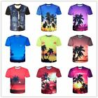 Hot Fashion Men Boy Summer 3D Printed Top Slim Short Sleeve Cotton T-Shirts