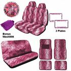 Animal Print Auto Car Truck Set Pink Leos Front Rear & Bonus Detailin-20114-05