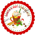 SANTA'S HOT CHOCOLATE stickers For Sweet Cones etc, 3 Sizes - Ref CHSMS 01-53