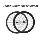 Very Light Front 38mm+Rear 50mm Clincher Racing Road Bike Carbon Wheels