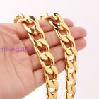 15MM Gold Plated Fashion Mens Jewelry Smooth Flat Curb Cuban Chain Necklace