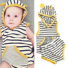 0-24M Newborn Infant Baby Boys Girls Clothes Hooded T-shirt Tops+Pants Outfits