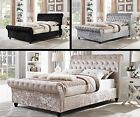 2017 CHESTERFIELD SLEIGH DESIGNER BED IN CHAMPAGNE CRUSHED VELVET