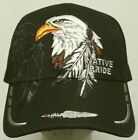 INDIAN NATIVE PRIDE AMERICAN GOLDEN BALD EAGLE FEATHERS TRIBE SYMBOL CAP HAT OS