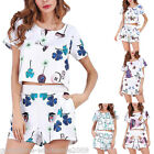 Womens Shirt Short Jumpsuit Beach Floral Casual Holiday Mini Playsuit Romper