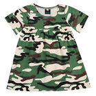 Kids Baby Girl Army Green Camouflage Short Sleeve Loose Dress Sundress Outfit