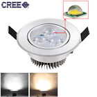 Dimmable 3W 5W CREE LED Recessed Ceiling Spotlight Bulb Downlight Lamp + Driver
