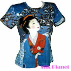 JAPANESE Ukiyo-e Geisha Snow Winter Robe Kimono TOP T SHIRT ASIAN ART PRINT BLUE
