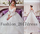 White 3/4 Sleeve weeding dresses Ball Gown Applique Formal Wedding Gown Costom