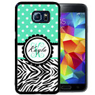MONOGRAMMED RUBBER CASE FOR SAMSUNG S8 S7 S6 S5 EDGE PLUS TEAL POLKA DOTS ZEBRA