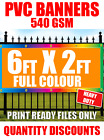 HEAVY DUTY 6FT X 2FT PVC VINYL BANNER SIGN, SHOP SIGNAGE, ADVERTISING, OUTDOOR