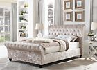 2017 DOUBLE 4FT6 CHESTERFIELD SLEIGH DESIGNER BED IN CHAMPAGNE CRUSHED VELVET