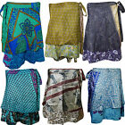 BOHO WOMENS MAGIC WRAP SKIRT REVERSIBLE SILK SARI 2 LAYER MINI PRINTED SKIRTS