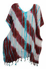 WOMEN'S BEACH COVER UP KIMONO CAFTAN TIE DYE PRINT SUMMER EVENING TASSEL DRESS