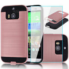 Rose Gold Shockproof Brushed Case Cover Protector + Glass Film For Htc One M8
