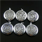 1 PC Antique Silver Plated Locket Charm Essential Oil Diffuser Pendant 32x32mm