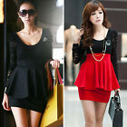 Elegant Women Long Sleeve Polo Neck Sexy Clubwear Party Cocktail Lace Mini Dress