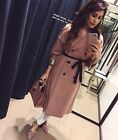 Zara Studio Taupe Pink Wool Blend Double Breasted Coat Size M-l