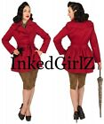 NWT Tatyana CROPPED TRENCH COAT RUBY RED Jacket Bettie Page 50s PinUp Bombshell