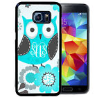 MONOGRAMMED RUBBER CASE FOR SAMSUNG S8 S7 S6 S5 EDGE PLUS BLUE OWL FLOWERS