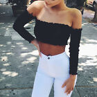 Hot summer Women's New boob tube top exposed umbilical long sleeve halter T-shir