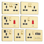 Slimline Screwless Socket Range - Polished Brass