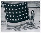 1955 Baldwin MI Custodian Vincent Pullman Found Old Flag in Bank Press Photo