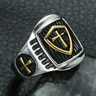 Stainless Steel Lord's Prayer & Cross Ring Band Religious Faith Jewelry Size8-12