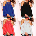 Women's Long Sleeve Floral Blouse Ladies Solid Off shoulder Tops T-shirt Casual