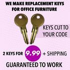 2 Global File Cabinet Keys W001-W249 Desk Office Furniture Keys