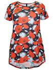 IVANS RED/BLACK/WHITE POPPY DIPPED HEM COTTON TUNIC - PLUS SIZE 22/24 - 34/36