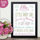 A Precious Little Angel Baby Girl Nursery Print Gift - Blessing from Above Poem