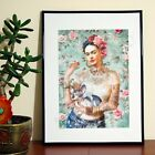 Frida Kahlo Sphynx Dog Cigarette Tattoo - A3 A4 - FREE Shipping - BFE