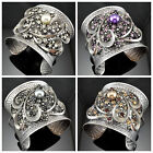 Retro Antique Hammered Steel Swirl Shape Style Faux Pearl Crystal Cuff Bracelets