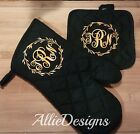 Custom monogram initials heat resistant oven mitt / pot holder Choose your color photo