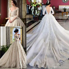 Luxury Arabic Wedding Dresse V Neck Half Sleeves 3D Floral Appliques Bridal Gown