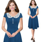 Women Elegant Lace Collar Wear to Work Business Casual Party Fit and Flare Dress