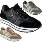 Ladies Running Trainers Womens Lace Up Flat Comfy Diamante Gym Sports Shoes Size