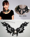 Black lace pearl Tassels Detachable False Collar Necklace