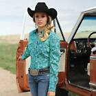 FAST SHIP! Cruel Arena Fit Turquoise Print  Western Snap Shirt CTW9393001