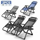 2 Zero Gravity Folding Lounge Patio Chairs w/Drink Holder Beach Outdoor Recliner