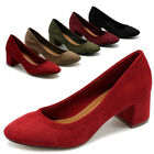 ollio Womens Shoes Stretch Faux Suede Chunky Heel Pump