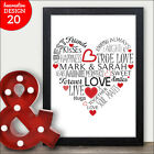 Word Art Personalised Heart Engagement Gift For Couples Mr & Mrs Unique Present