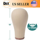 GEX Cork Canvas Block Head Mannequin Display Head for Wig with Mount Hole High