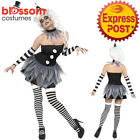 CA424 Ladies Sinister Pierrot Circus Clown Jester Halloween Fancy Dress Costume