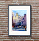 WILL ELLISTON Fine Art Print Spanish Town Cartagena Street Watercolour Painting