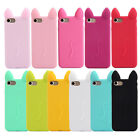 Hot Cute 3D Cartoon Cat Ear Soft Silicone Phone Case Back Cover Plate For iPhone