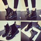 Womens Ladies 2015 Patent Punk Elasticated Chelsea Ankle Boots Booties Shoes Q5