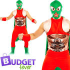 Wrestler Adults Fancy Dress Mexican Sports Fighter WWF Mens Costume Outfit New